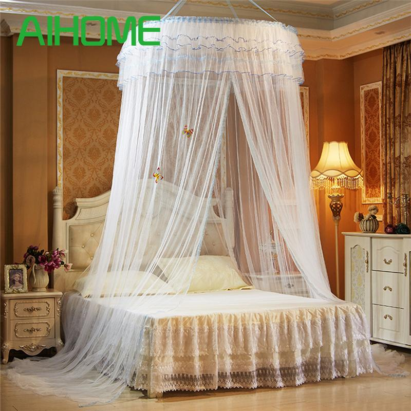 Hanging Round Dome Mosquito Net Luxury Princess Past Lace Bed Canopy Crib Luminous Erfly White