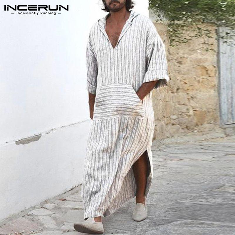 53f87adee1 2019 Muslim Style Mens Dress Kaftan Robe White Striped Long Shirts Islamic  Arabe Bathrobe Lounge Gown Masculino Abaya Arab Clothing From Biwanrou