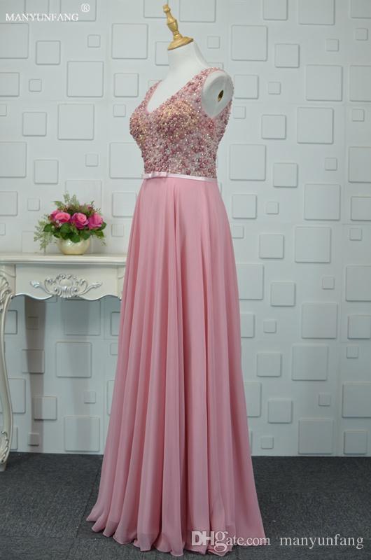 Luxury Major Beading Evening Gowns Sweep Train Elegant High Quality Pink Chiffon Women Vestidos Festa V Neck Hot Sale Evening Dresses