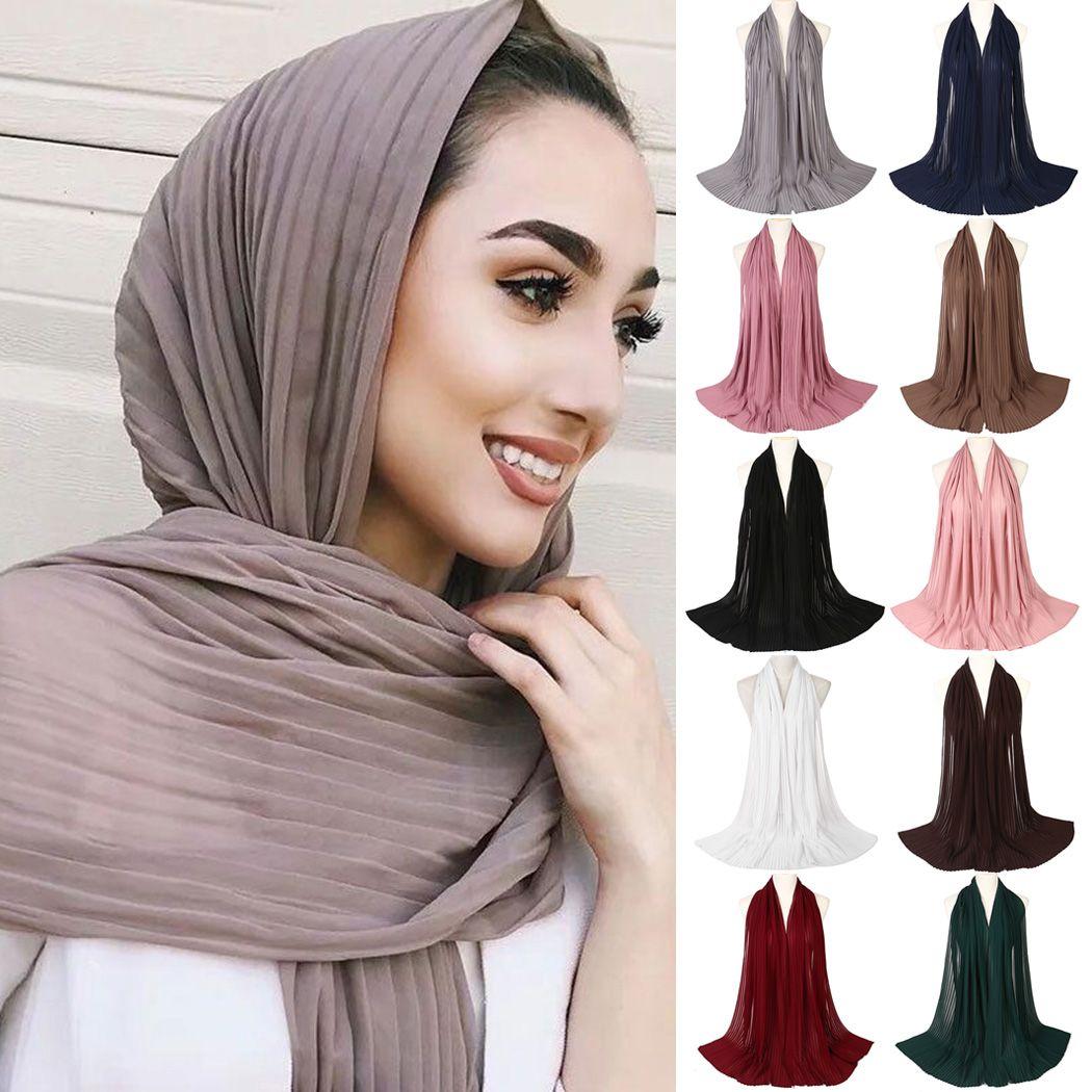 Women Muslim Chiffon Scarf Bubble Crinkle Long Scarves Head Shawl