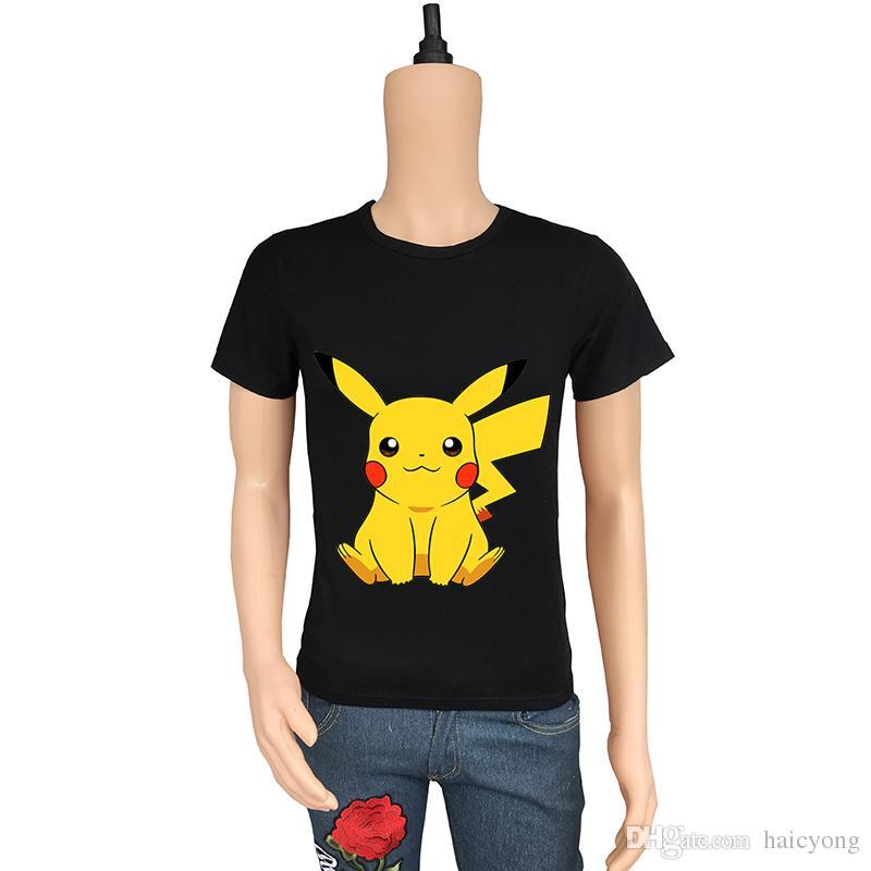 e2a9ee5f01f ... Cartoon Pikachu T Shirt Men Short Sleeve Summer Hip Hop Tops Tee