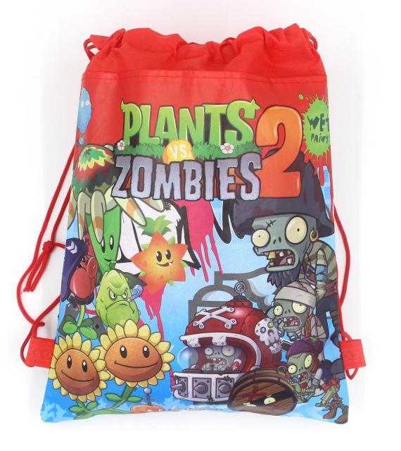 4 색 식물 대 좀비 장식 어린이 만화 배낭 생일 비 짠 직물 Drawstring 파티 가방 용품