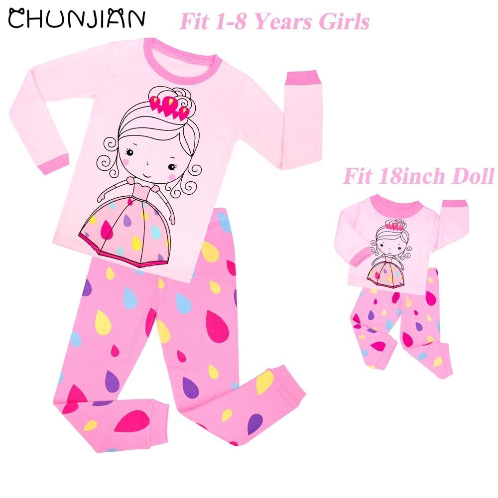 8f09f8cbbce2 Baby Doll Clothing Sets Girls Long Sleeve Pajamas Kids Princess Home ...