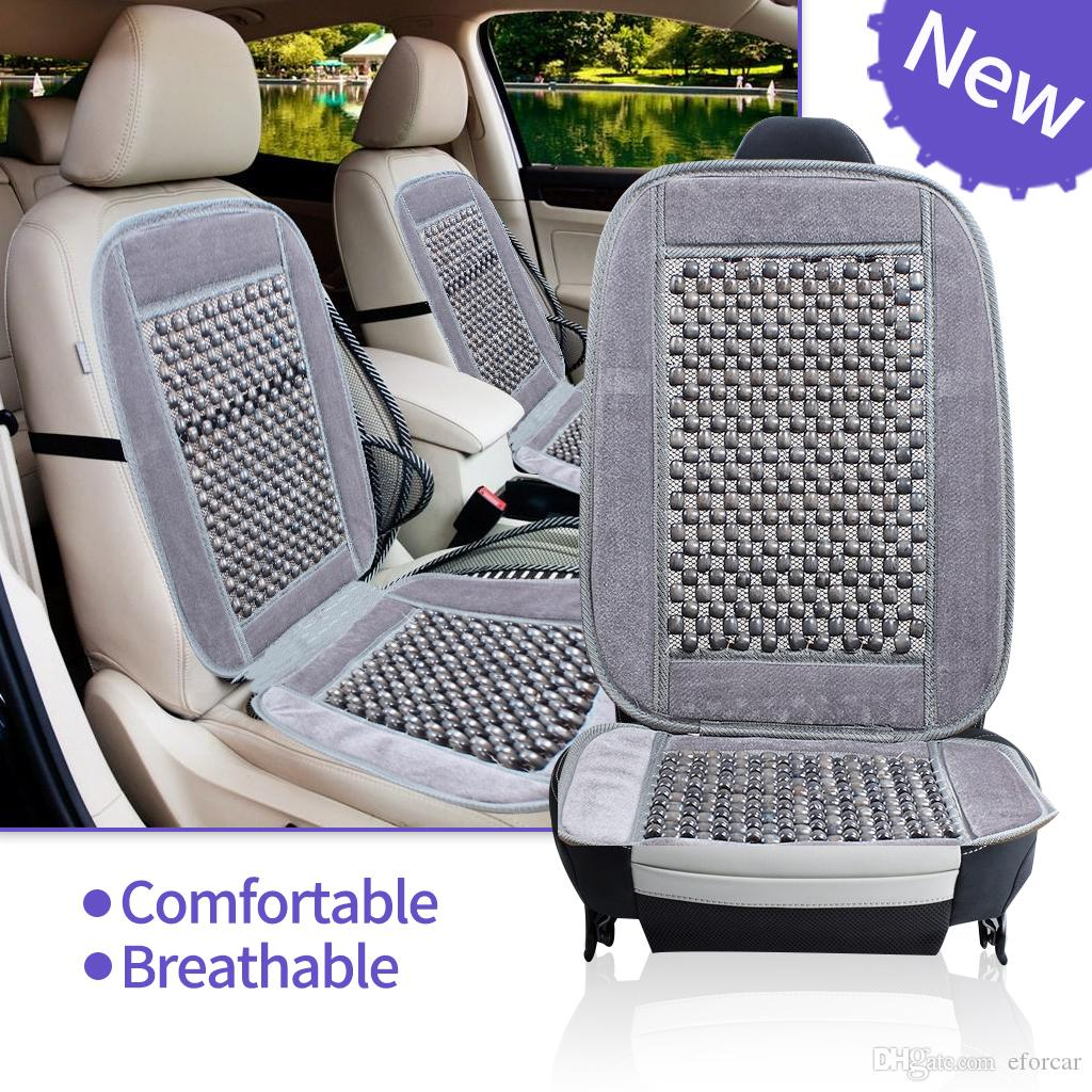 Natural Wood Bead Seat Cushion Auto Car Home Chair Cover Tan Beaded Office Chair bSeat Cover
