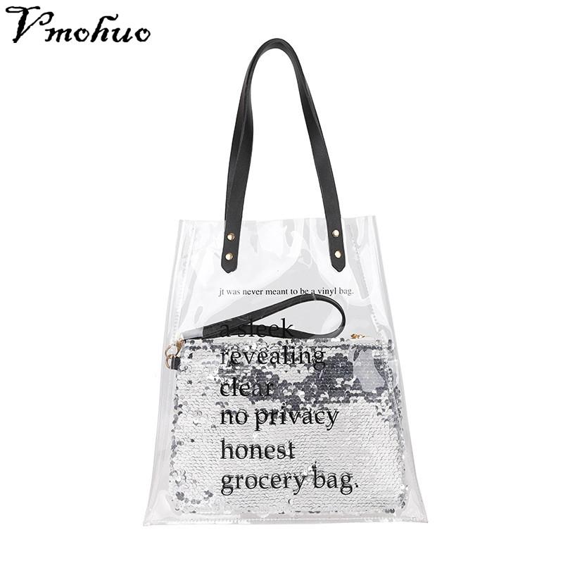 a432fd6e7fe1 VMOHUO Women Clear PVC Tote Plastic Beach Handbags Female Casual  Transparent Summer Shopping Shoulder Bags Girls Composite Bag Black Bags  Crossbody Purse ...