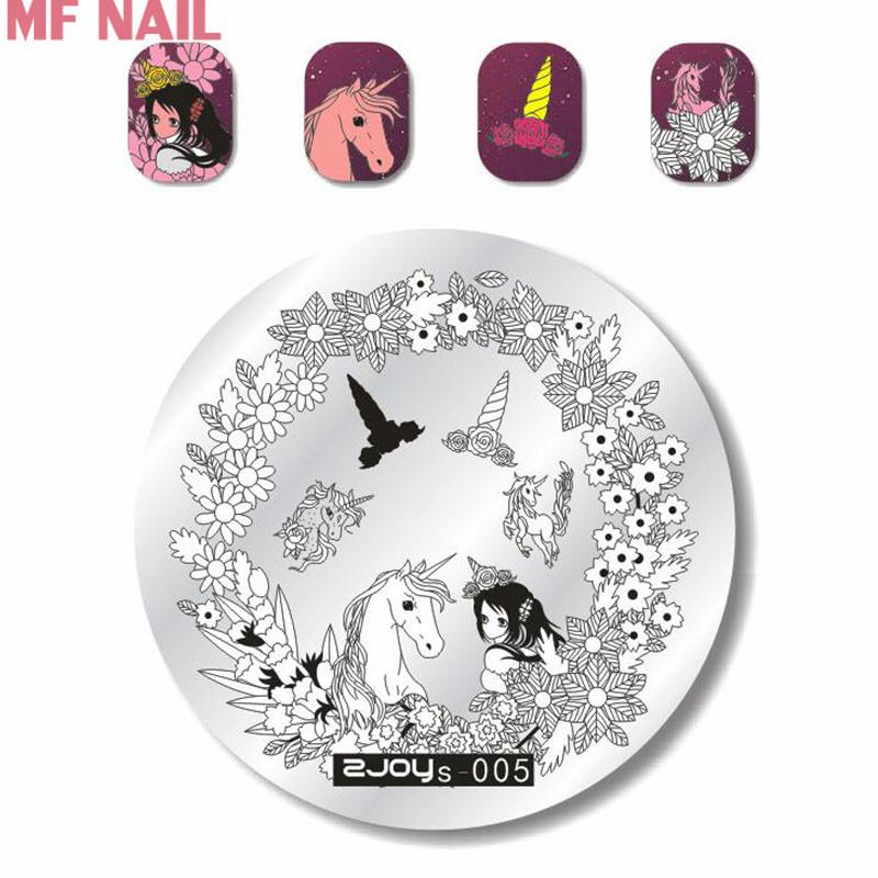 Zjos05 New 2018 Nail Art Stamp Plate With Beautiful Flowers Unicorn