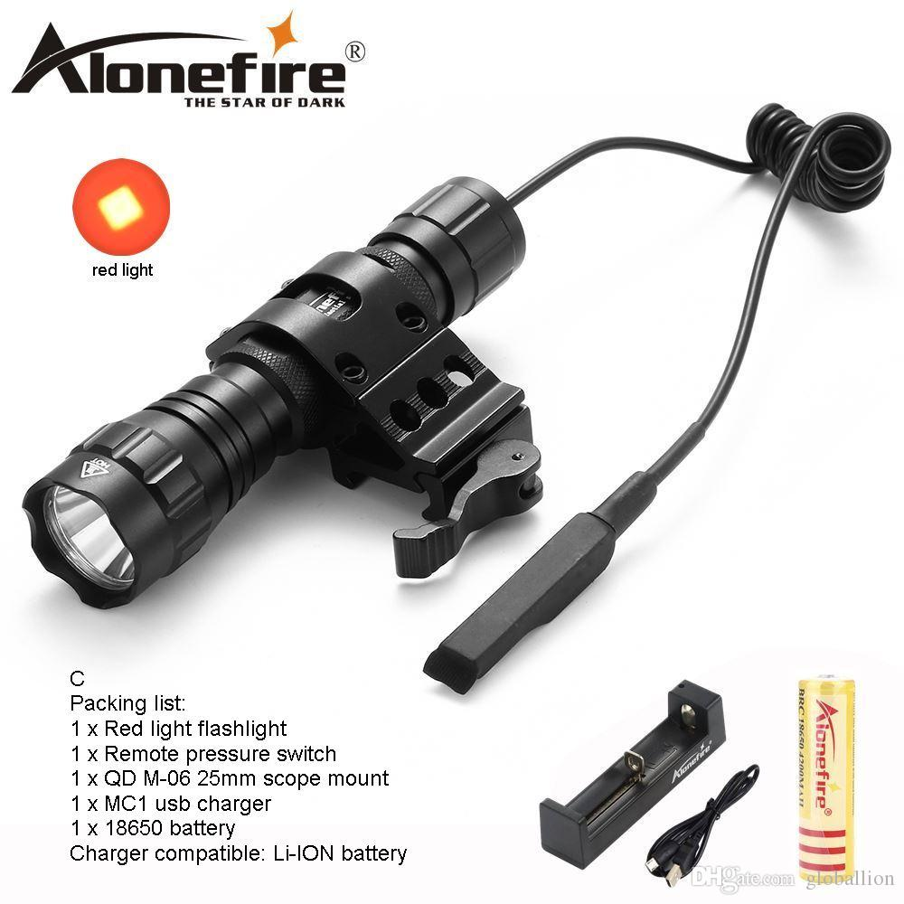 AloneFire 501Bs LED Flashlight Red Light Portable Outdoor Camping Hunting Flash Light Lantern Tactical Torch Light 18650 Battery