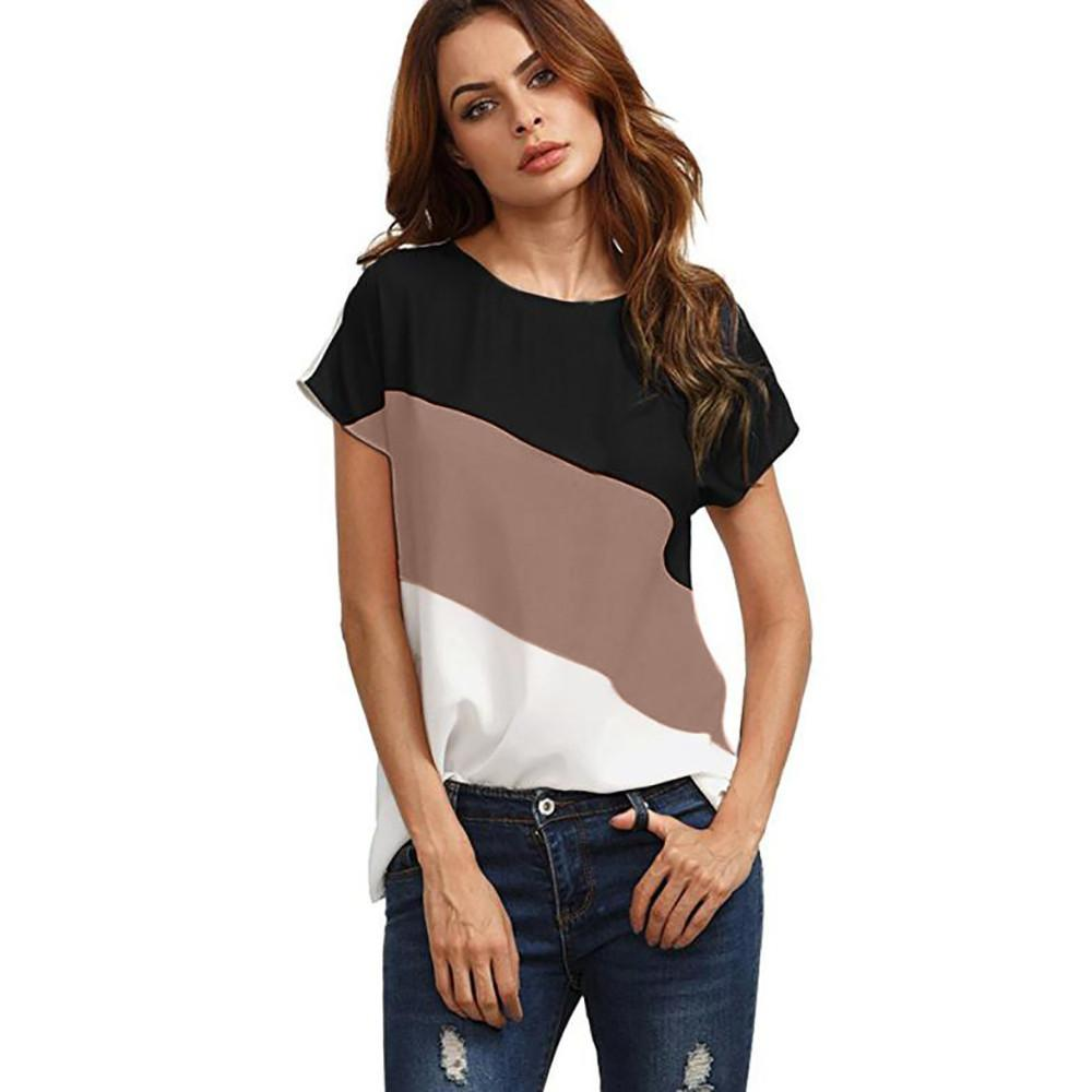 ce38ae94375f 2019 Summer Blouse Women Fashion Casual Ladies Blouses Women S Color Block  Chiffon Short Sleeve Casual Blouse Shirts Tunic Tops 2018 From Erzhang