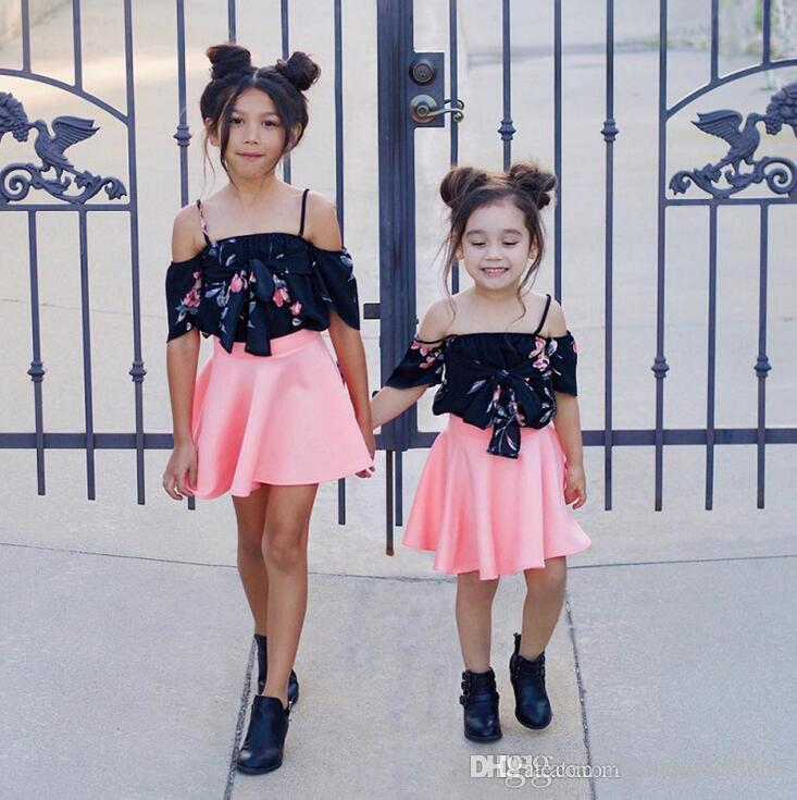 e13bd68f6ded7 Ins new Hot Sell Baby Kids Clothing Adorable Boy and Girls clothes Elastic  Camisole child skirt printed dress Two piece set