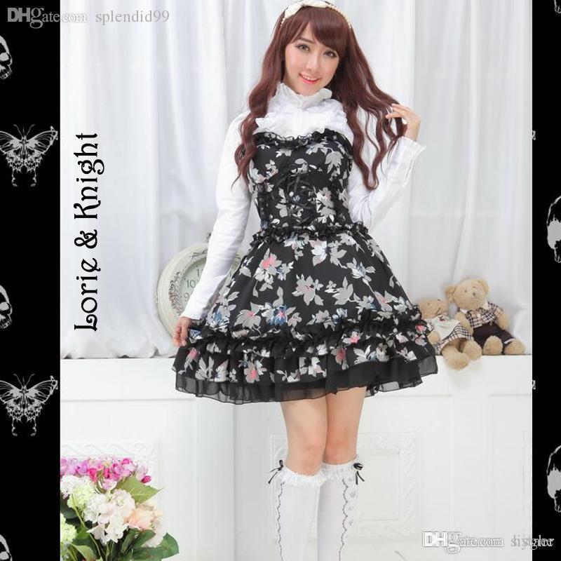 ec76e048a2e Acheter Deux Pièces En Gros Noir Et Blanc Blouse Manches Longues Tube  Taille Haute Robe Tube Sweet Lolita Set De  140.63 Du Hyghe
