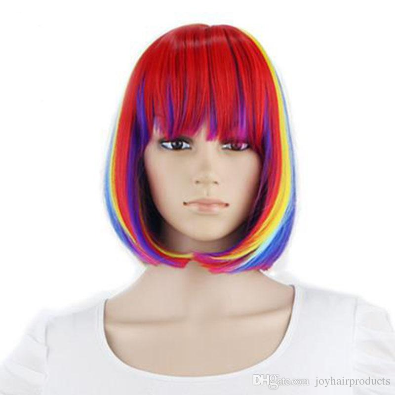 "Hot 12"" Short Straight Bob Wigs Cosplay Colorful for Costume Wig for Women Party"