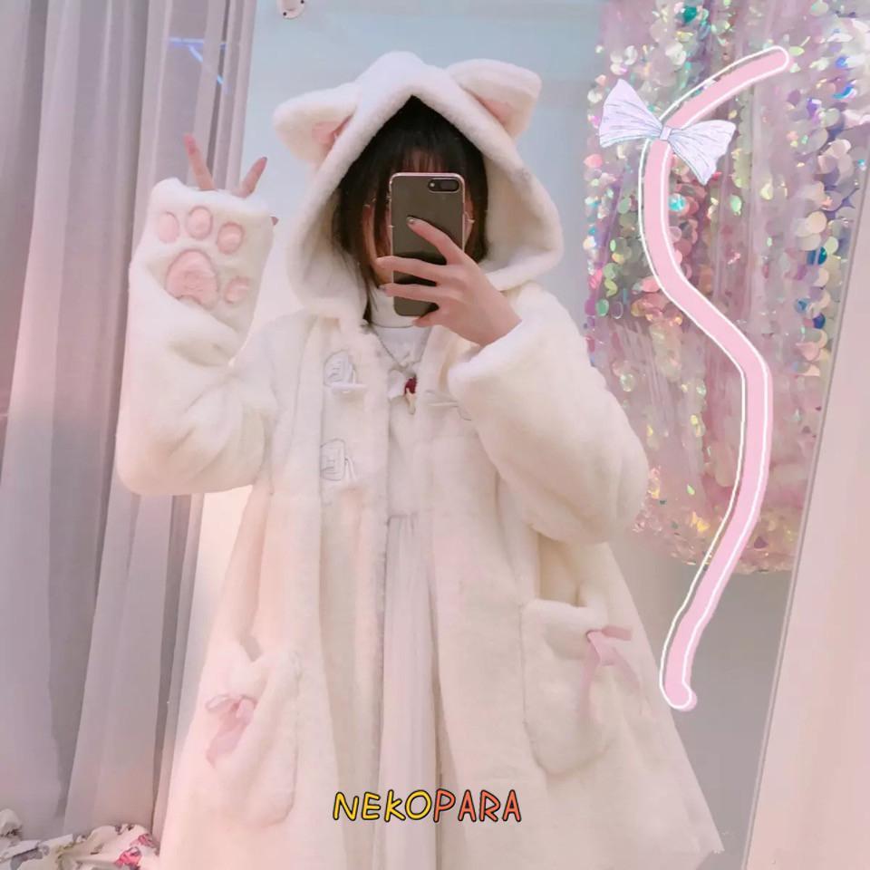 Super Cute Women's Faux Fur Cat Ears Fluffy Hooded Coat Winter Thick Long Sleeve Lolita Outwear Jacket Warm White & Black