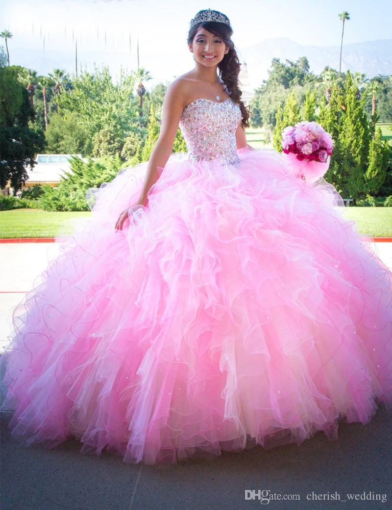 Compre Vestido De Bola Rosa Quinceañera Vestidos 2017 Lentejuelas ...