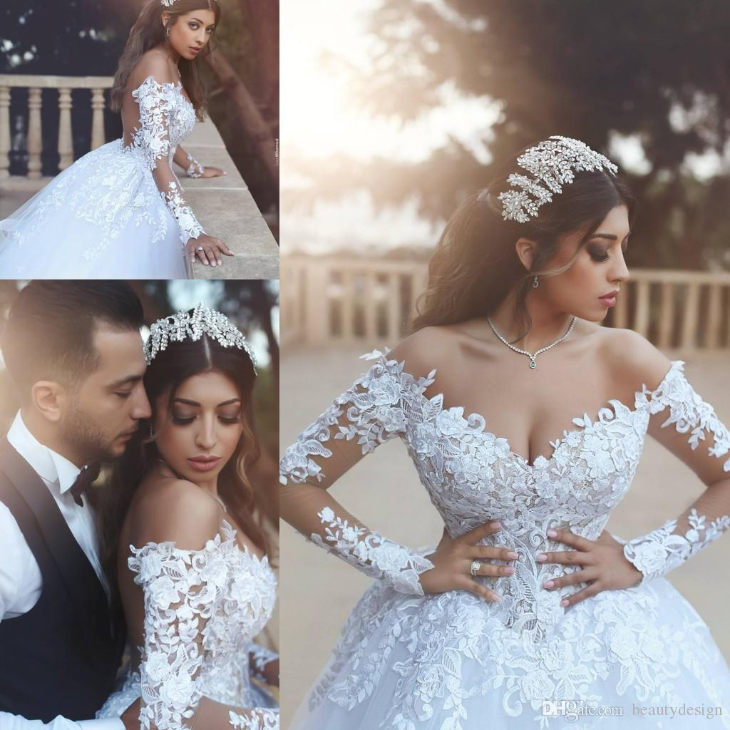 4cf22d2b40f4 2018 Arabic Gorgeous Off Shoulder White Wedding Dresses With Lace Appliques  Top Long Sleeves Tulle A Line Bridal Gowns Hot Short Bridal Gowns Simple  Wedding ...