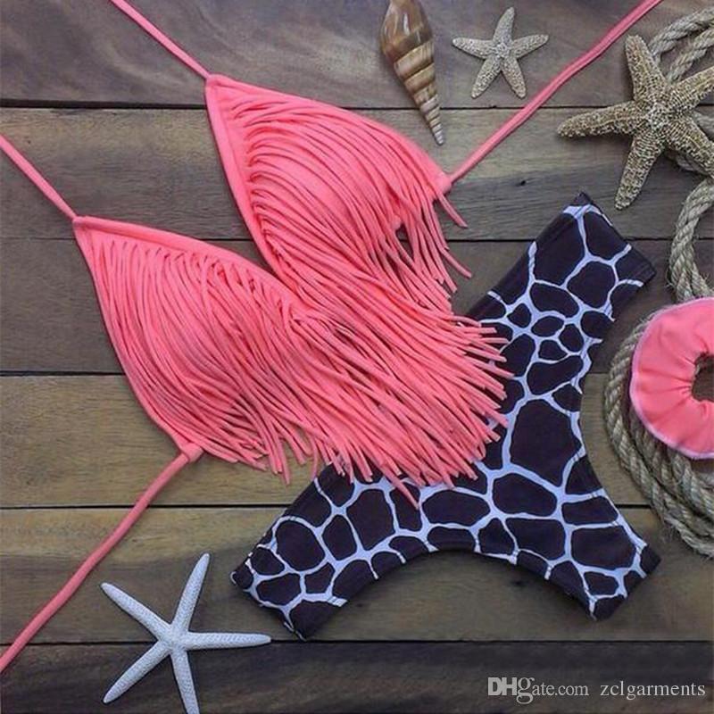 Tassel Bra Woman Leopard Sexy Bikini Set Bandage Swimsuits Push Up Sport Pink Top Swimwear Plus Size Beachwear