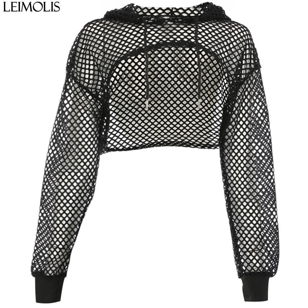 fd1cc6d39cd2 LEIMOLIS mujeres sexy camiseta de malla transparente con capucha de manga  larga cosecha superior verano niñas negro camiseta corta tops ropa de  fiesta ...
