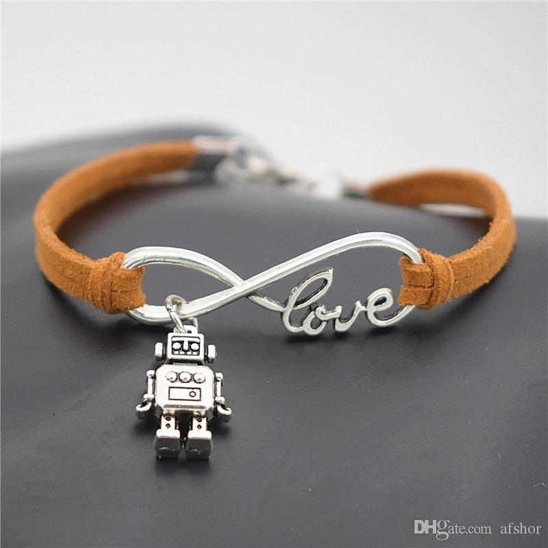 AFSHOR New Creative Robot Gifts for Women Men Fashion Antique Silver Cute 3D Robot Charm Pendant Infinity Love Jewelry Leather Bracelet