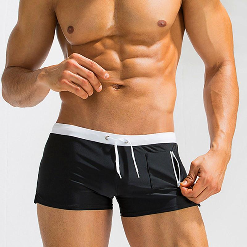 553ea18565 Acheter 2018 Maillots De Bain Hommes Shorts De Natation De Poche Sexy  Cordon De Maillot De Bain Surf Plage Sports Maillots De Bain Boxer De Haute  Qualité De ...