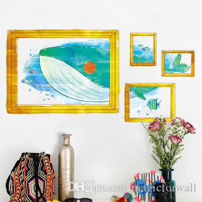 3D Stereo Whale with Fake Golden Picture Frame Wall Stickers Living Room Bedroom Background Wall Decals Art Kids Nursery Creative Wallpaper