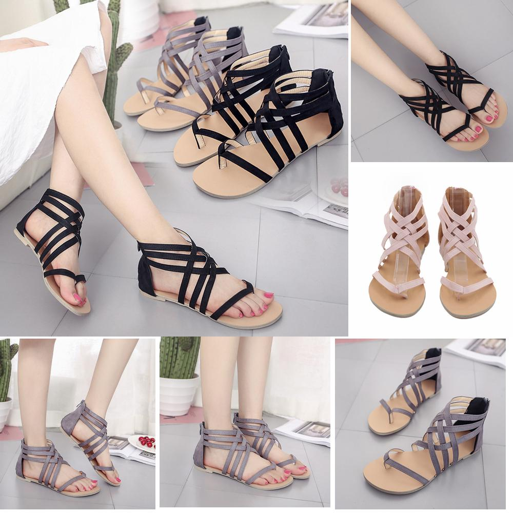 6e92dece0cb3 Women Rome Hollow Out Sandals Ankle Strappy Gladiator Thong T Strap Flat  Casual Beach Shoes Summer Girls Sandals AAA437 Espadrilles Birkenstock  Sandals From ...