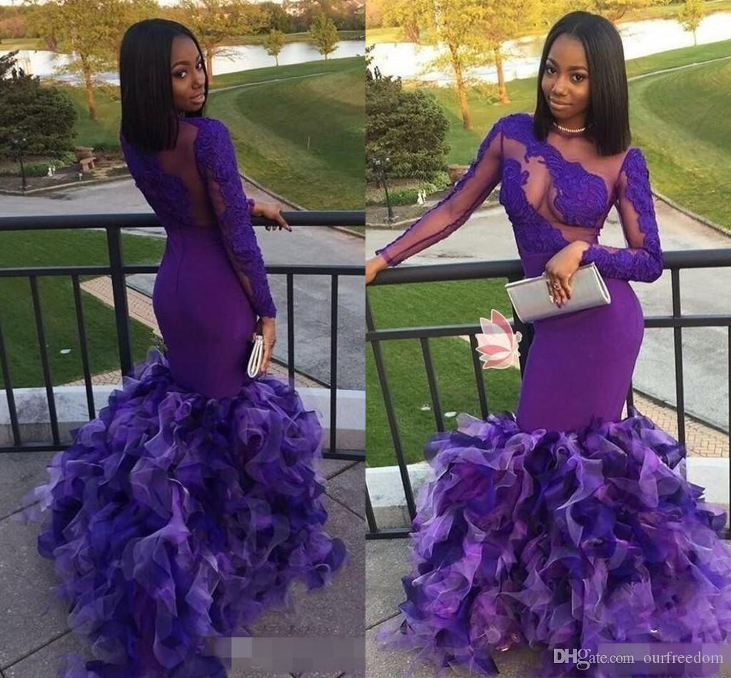2018 African Purple Long Sleeves Evening Dresses Sheer Neck Lace ...