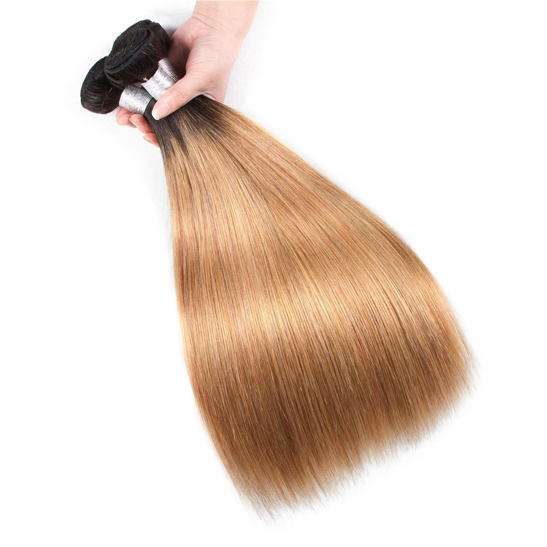 شقراء البرازيلي مستقيم نسج الشعر حزم أومبير 3/4 حزم اثنين من لهجة 1b 27 الشعر النسيج 100٪ لحمة الشعر البشري 12-26 بوصة