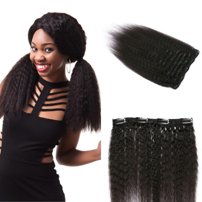 Coarse Yaki Malaysian Human Hair Clip In Extensions For Black Women