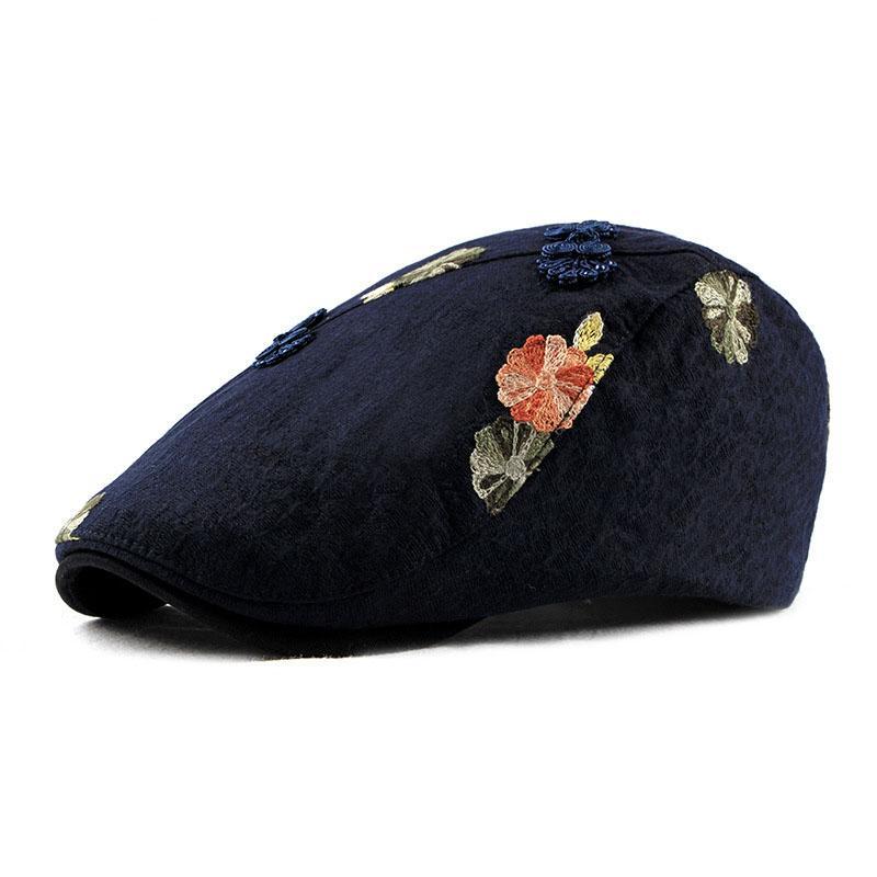 Compre Mujeres `s Sombrero De Vendedor De Periódicos De Estilo Chino Asian  Étnico Floral Emboridery Ivy Sombreros Irlandeses Para Dama A  16.52 Del ... d214876597e