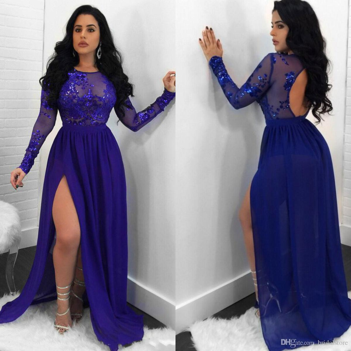 Elegant Royal Blue Long Sleeve Evening Dresses African Open Back Prom Gowns  Floor Length Chiffon Formal Party Dress Chic Robes De Soirée Halter Evening  ... 6e7a27100ae4