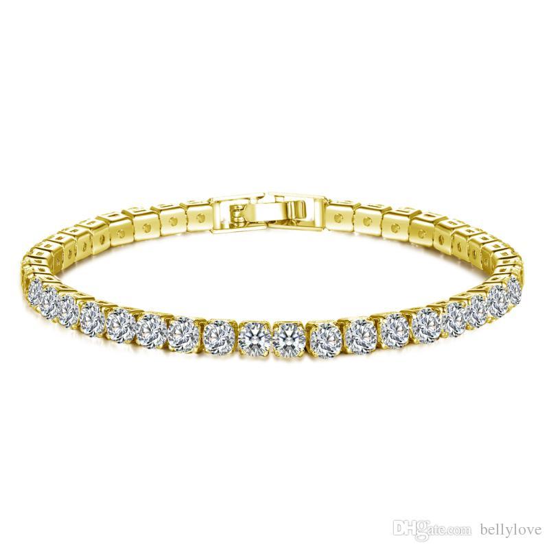 الذهب والمجوهرات 18K الأبيض / الأصفر مطلي متألقة مكعب الزركون تشيكوسلوفاكيا العنقودية تنس سوار أزياء المرأة لحفل زفاف