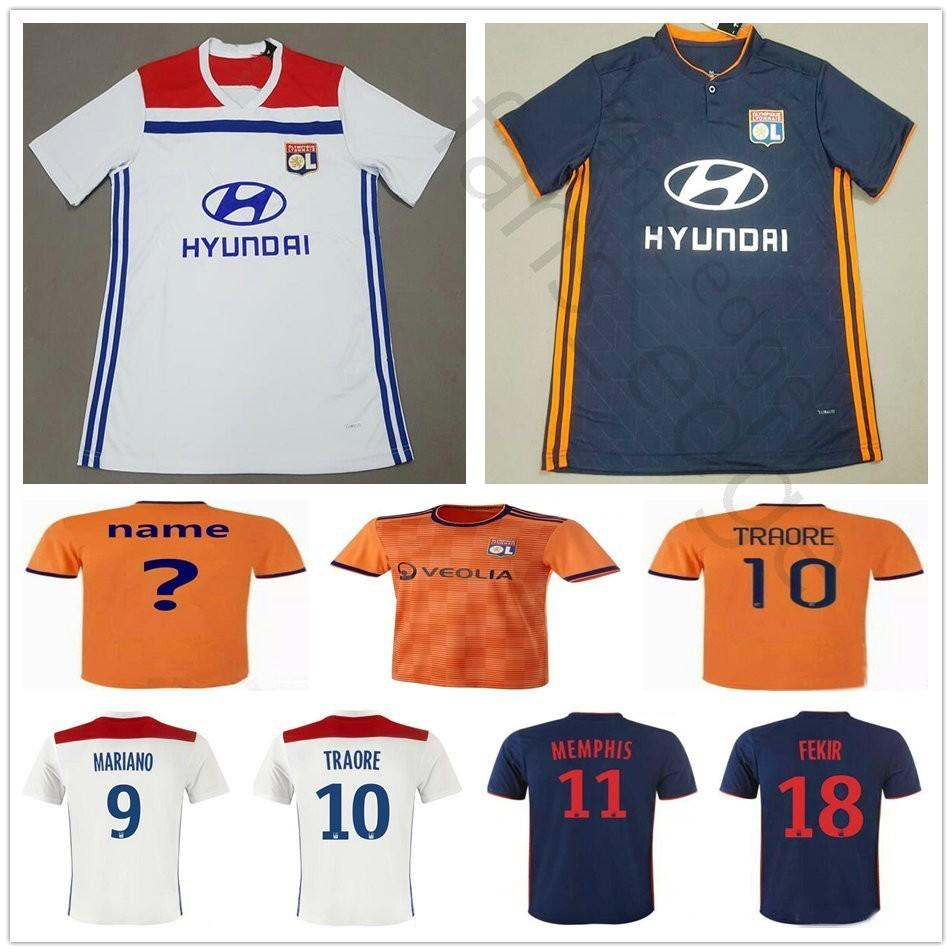 54a48cf1b8637 2019 18 19 Lyon Soccer Jerseys 18 FKIR 11 MEMPHIS 9 MARINAO 10 TRAORE 8  AOUAR MAOLIDA Custom White Blue Orange Football Shirts From Fans_edge, ...