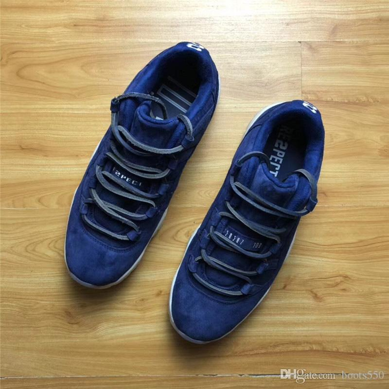2105ad72ead299 11 Low RE2PECT Derek Jeter Blue Suede 11S Basketball Shoes Sneakers For Men  Authentic Real Carbon Fiber AV2187 441 With Original Box 40 47.5 Basketball  ...