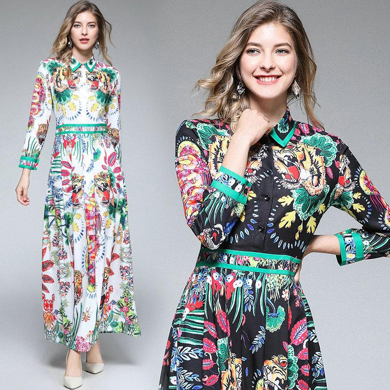 a2a7e5b3837 2018 Autumn Printed Maxi Dress Fashion Women Shirt Dresses Long Sleeve  Lapel Slim Long Dresses Prom Party Dress Quality Goods High Quality Dress  Printed ...