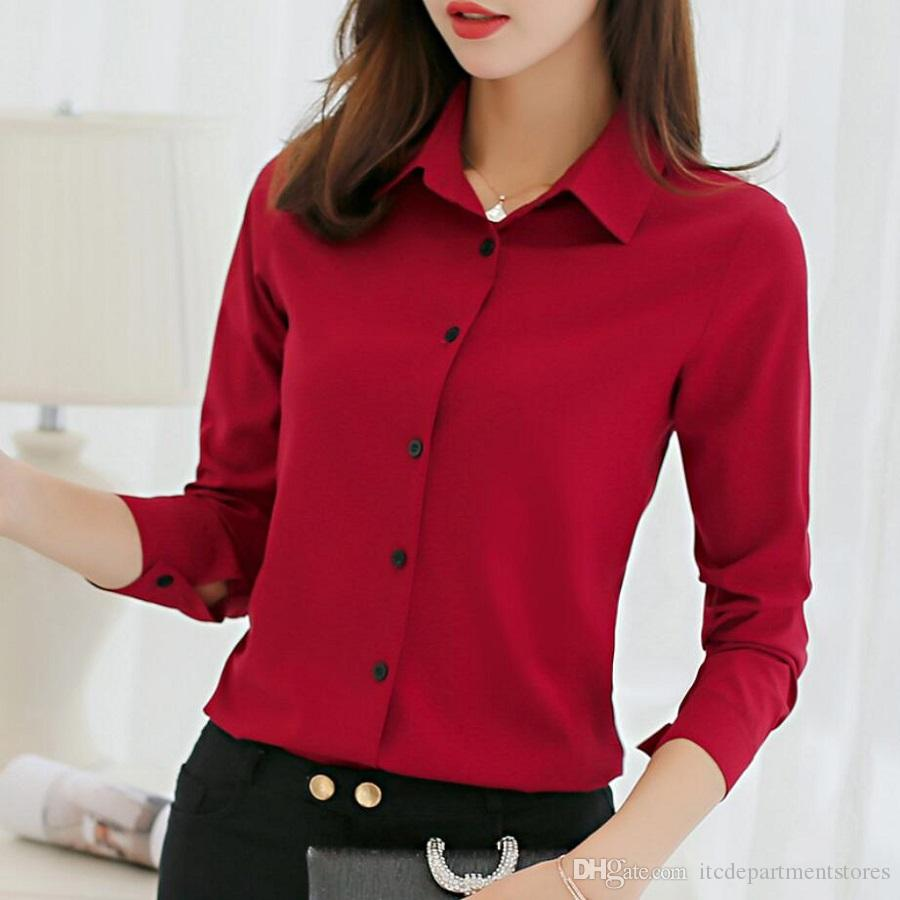 Office Blouse Women Summer Chiffon Blouses Shirts Ladies Girls Casual  Formal Blouse Long Sleeve Female Tops Shirt Blusa Feminina UK 2019 From ... 7cf6959c3459