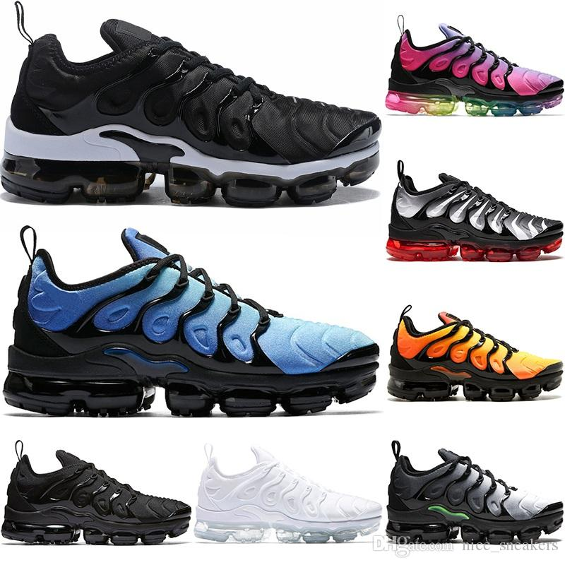 d621f6c95ccf VM TN Plus Men Women Designer Running Shoes Silver Triple Black ...