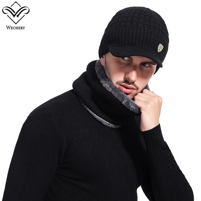 134b52891ac465 2019 Wechery Winter Hats For Men Knitting Beanies & Warm Extra Fur Loop  Circle Scarf Two Pieces Set Bonnet Beanie From Cutport, $21.11 | DHgate.Com