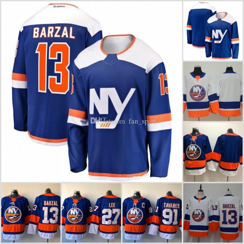 more photos 40ec1 12609 13 Mathew Barzal 2018 2019 Season New Third New York Islanders 27 Anders  Lee 91 John Tavares Hockey Jerseys All Stitched New Jersey