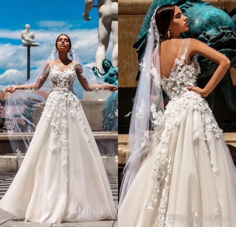 68eb483148 Discount 2018 Gorgeous Spring 3D Floral A Line Wedding Dresses Sheer Neck  Floor Length Beach Wedding Dress Sexy Back Boho Bridal Gowns Wedding Dresses  Cheap ...