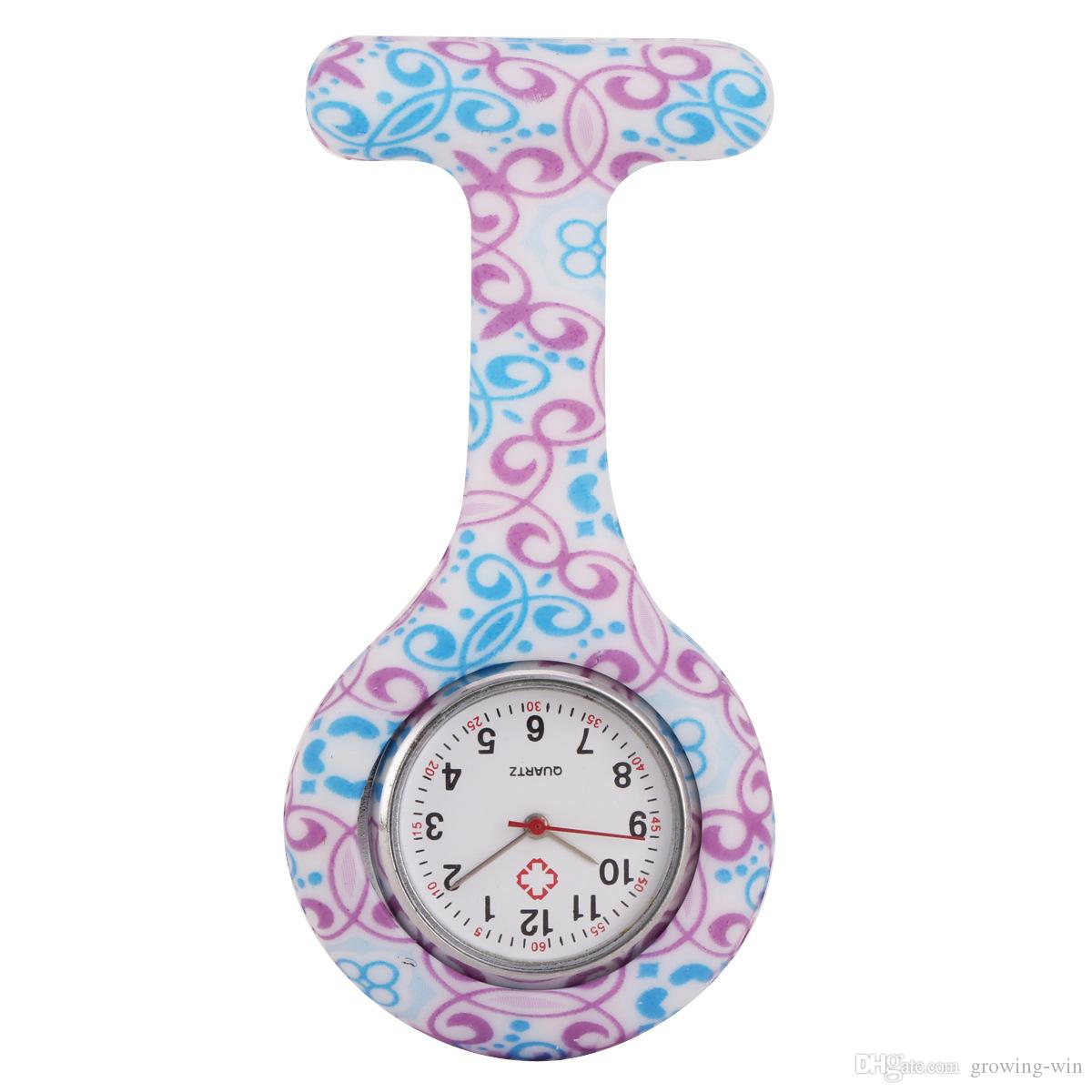Toptan Moda Unisex Hemşire Doktor Pin bayan Silikon Kauçuk kamuflaj kuvars İzle Zebra Leopar çiçek Cep şeker saatler