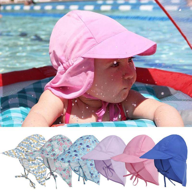f9535501e0aa80 2019 Summer Baby Boy Girl Sun Hat Outdoor Sun Beach Hats Kids Children Neck  Ear Cover Anti UV Protection Swimming Cap From Dejavui, $29.06 | DHgate.Com