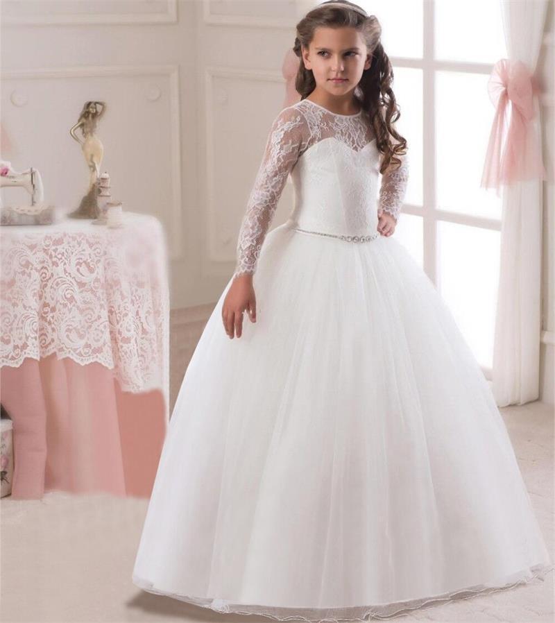 21e9dcd33 Compre Vestido De Boda De La Princesa Del Banquete De Boda Blanco Vestidos  De La Muchacha Traje Formal De Las Muchachas Del Partido De Los Niños Para  El ...