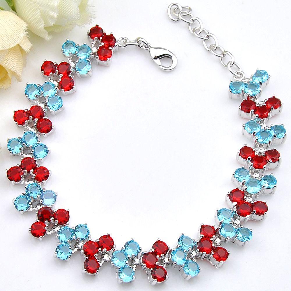 Luckyshine 1 Optional Holiday Gift Pure Handmade Shiny Topaz Gem Silver Chain Bracelets Bangles Russia USA Bracelets