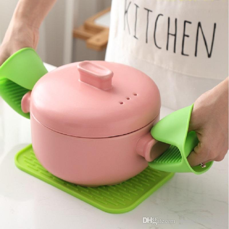 Kitchen Silicone Heat Resistant Gloves Clips Insulation Non Stick Anti-slip Pot Bowel Holder Clip Cooking Baking Oven Mitts