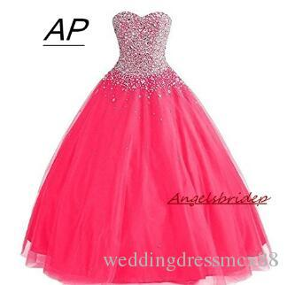 aaafc9d52b ANGELSBRIDEP Ball Gown Quinceanera Dresses 2018 With Rhinestones 15 Party  Quinceanera Gowns Sparkly Beading Debutante Gowns Hot Formal Evening Dresses  ...