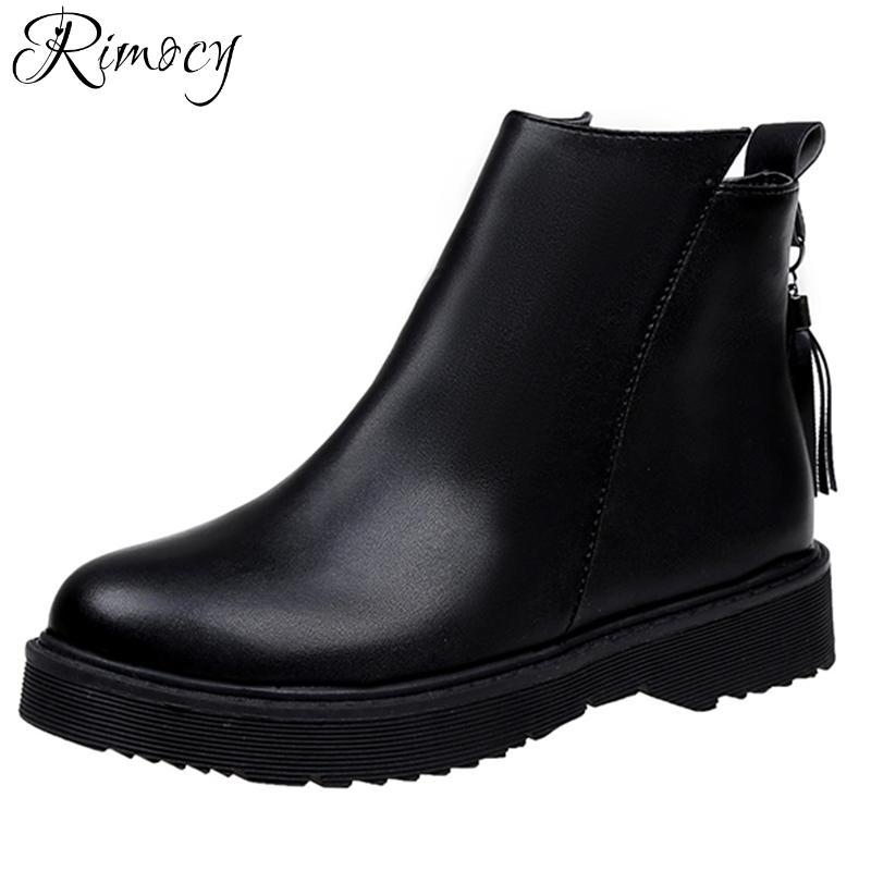 79077fceada9 Rimocy Waterproof Leather Ankle Boots Women Autumn Winter Warm Plush All  Match Black Snow Boots Woman Tassel Platform Flat Shoes Bootie Buy Shoes  Online ...