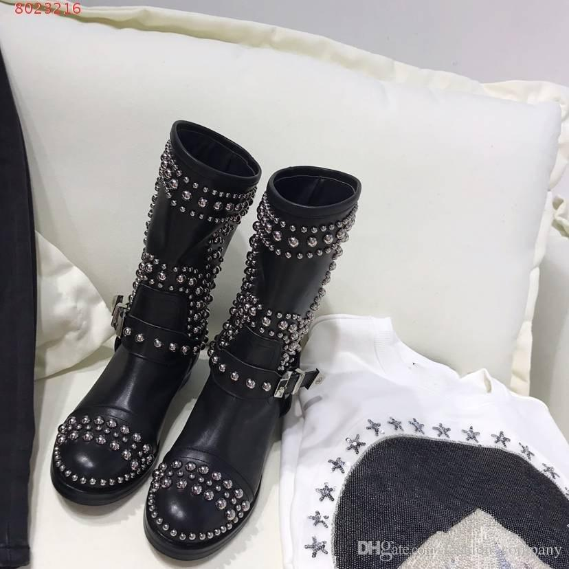 Luxury brands heavy craft forge Top - level cowhide with diamond finish High-end atmosphere women low heel Middle Boots