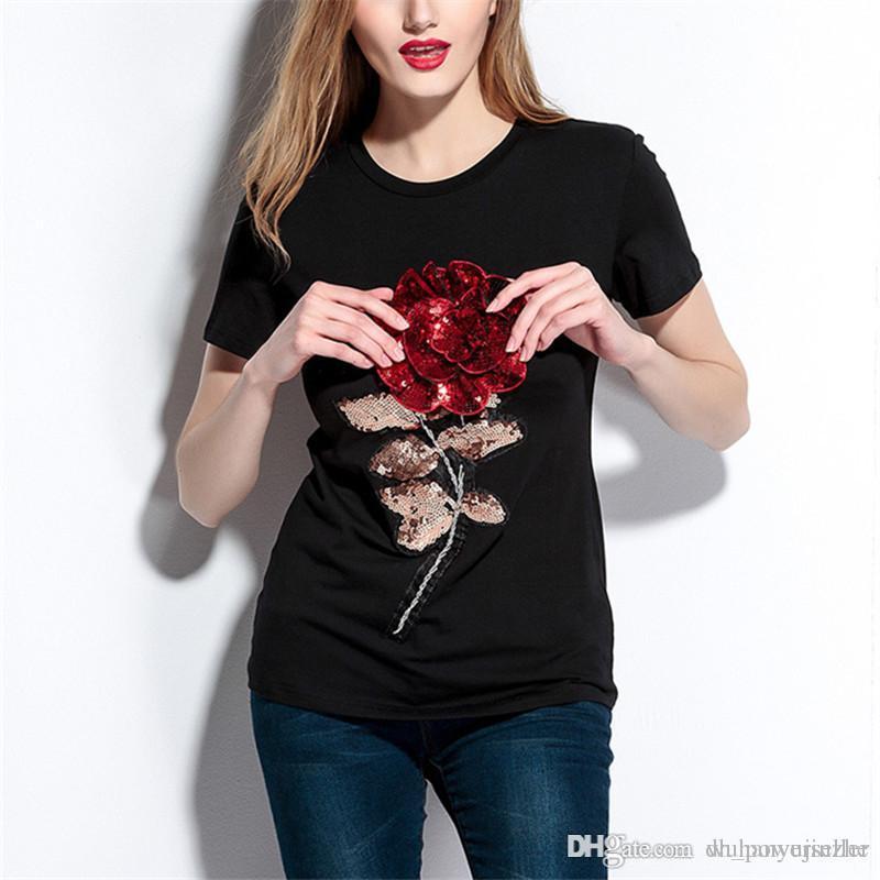 36250a5b Short Sleeve 0 Neck Sweet Women T Shirt Girl Rose Sequins T Shirt Casual  Tops Tees Summer Fashion Women T Shirt CL604 Cool Tee Shirt Designs Buy  Cool T ...