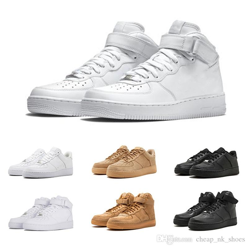 pretty nice df8a3 e5996 Compre Nike Air Force 1 Clásico Blanco Negro Zapatos De Las Fuerzas 1 Un  Hombre Mujer Zapatillas De Deporte Trigo Skateboarding Zapatos Deportivos  ...