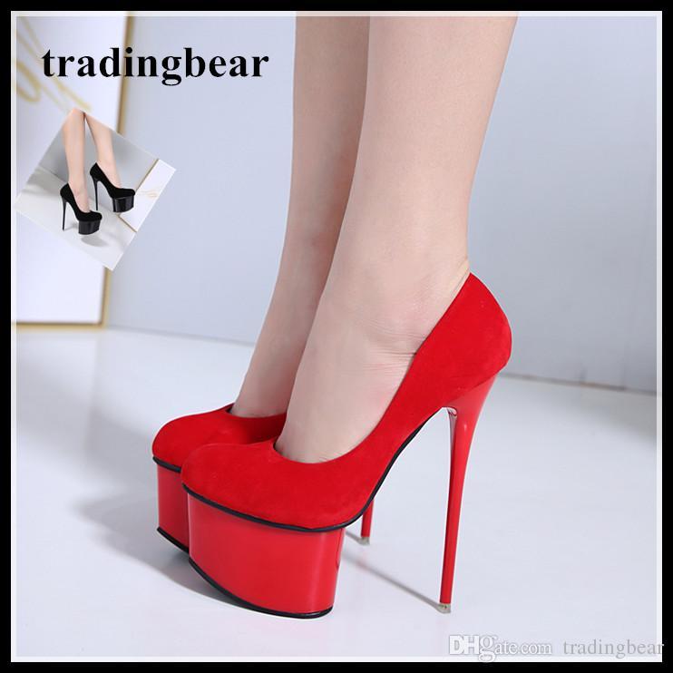 db63f075e5a 16cm Super platform red high heels shoes pumps women wedding shoes black  party club wear size 34 to 40