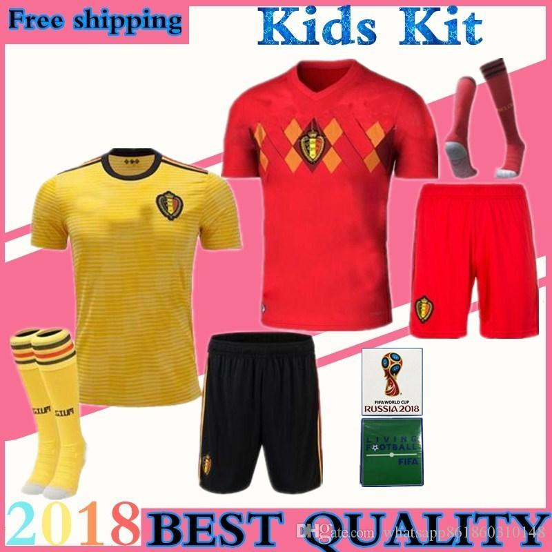 9ad198838 Children Suite Belgian Belgium Soccer Jersey E.HAZARD 2018 World Cup ...